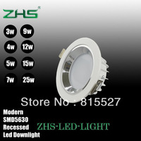 Free shipping AC85-265v led lights for ceiling recessed modern downlight fixture lamp 3w 4w 5w 7w 9w 12w 15w 25w 12pcs/lot