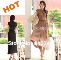 2013 Hotsell New Fashion Round Neck Boho Pleated Chiffon Casual Dress Bohemia Maxi Long Women Dresses M/L/XL Freeshipping#CGD006