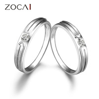 PAIR ZOCAI BRAND LOVE 0.14 CT CERTIFIED H/SI DIAMOND HIS AND HERS WEDDING BAND RINGS SETS ROUND CUT 18K WHITE GOLD
