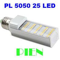 New Arrival G24 LED Bulb E27 PL 5W 5050 SMD 25 LED Corn Light Lamp Cool |Warm 85V-265V Aluminum+ PC Free Shipping 10pcs/lot