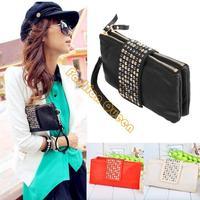 2013 women purse wallet new style fashion handbag women high quality bags black leather metal rivet 4004