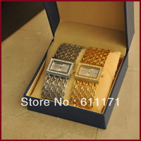 Free Shipping Women's  Vintage Quartz Diamond Gold and Silver bracelet watch(top luxury brand )