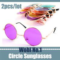 purple color round lens sunglasses vintage eyeglasses retro fashion sunglass sun glasses for men shades UV400 free shipping