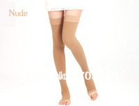Free shipping via CPAM Unisex medical elastic compress stockings knee above stocking open toe 30-40mmHg compressure