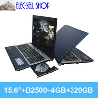 Brand New laptops 15.6 inch Intel Atom N2600 Dual core 1.6GHZ 4GB 320GB notebook computer A156 with DVD-RW HDMI