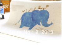 10pcs  20*20cm Cute Blue Elephant Hand Dyeing Natural Cotton Linen CanvasHandmade DIY Patchwork Fabric 100styles