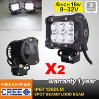 FREE FEDEX SHIPPING ! 2PCS 4 INCH 18W CREE LED LIGHT BAR FLOOD FOR OFF ROAD LED BAR IP67 4WD ATV UTV SUV  LED WORK LIGHT BAR