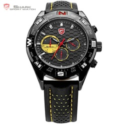 SHARK Date Day 6 Hands Stainless Steel Case Leather Band Swiss Movement Black Yellow Men's Quartz Sport Wrist Watch / SH081(China (Mainland))