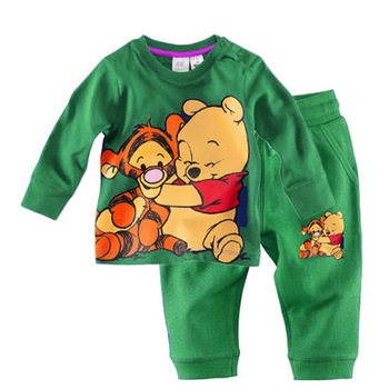 Free Shipping 2013 New Arrival Cotton Long Sleeve Bear Baby Girl Blue Clothing Set Children Wear PJ21228-11^^HK