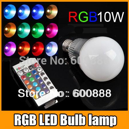[ E27 RGB LED Lamp ] 10W AC100-240V led Bulb Lamp with Remote Control multiple colour led lighting free shipping(China (Mainland))