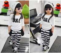 S09 girl sets long-sleeved T-shirt + striped harem pants size 100-110  suits girl clothing sets