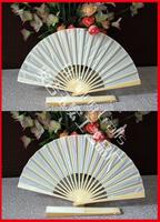Free shipping 20pcs/lot white silk hand fan for wedding favor