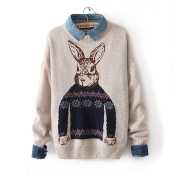 2013 зима г-н. Питер пэн кролик печатный рисунок вязаный пуловер свитера женская v-образным вырезом верхняя одежда негабаритных крючком свитер для женщин