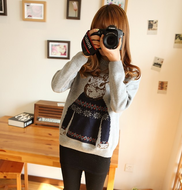 2013 Winter Mr.Peter Rabbit Pattern Print Knitted Pullover Sweaters Women Crewneck Outerwear Oversized Crochet Sweater for Women