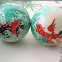 Elegant jade color50mm40mm baoding iron balls w/dragon&phoenix in immitation jade.Chime health balls.Stress balls.Red paper box.