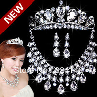 2014 hot sale water drop crystal bridal jewelry sets tiara+necklace+earrings Silver noble bride jewelry sets
