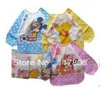 3pcs Free Shipping Baby Unisex Cartoon Waterproof Bib, Mickey Minnie Winnie Smock Vesture Shirts BIb, Keeps Baby Clean CL0143