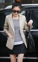 New Women Korean Style Fashion Casual Blazer Suits One Button Slim Black and Khaki Lady Suits Jacket Blazers Free Shipping