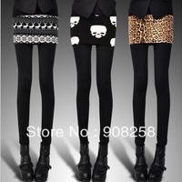 Leopard Print Skull Deer Skirt & Leggings Two-Piece SET Pants Sexy Women Pantyhose