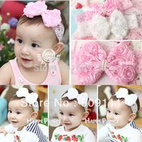 Infant flower headband Babies pink lace hairband Toddler Baby girls Felt Flower headbands 10pcs HB037