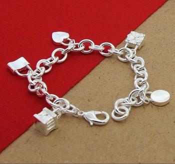 YB8  2015 New Arrival,Valentine's Day, Wholesale Fashion Jewelry , Free shipping, 925 Silver  Charm Bracelets , Bracelet Jewelry