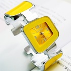 2013 Fashion Famous Brand Luxury Women Bangle Analog Quartz Watches with Square Dial Pink Blue Yellow Steel band Free Shipping(China (Mainland))