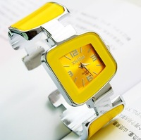 2014 Fashion Famous Brand Luxury Women Bangle Analog Quartz Watches with Square Dial Pink Blue Yellow Steel band Free Shipping