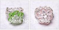 Sale Fashion Handmade weave Clear Kids Children Girls Women Ladies Flower Crystal Finger Bead Jewelry Rings,factory supply