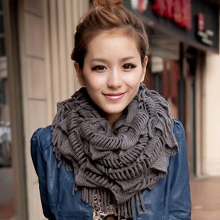 New 2014 Winter Fashion Lady Warm Collar Tassel Knitting Wool Set of Head Scarf brand scarves Fashion Women Scarf Freeshipping