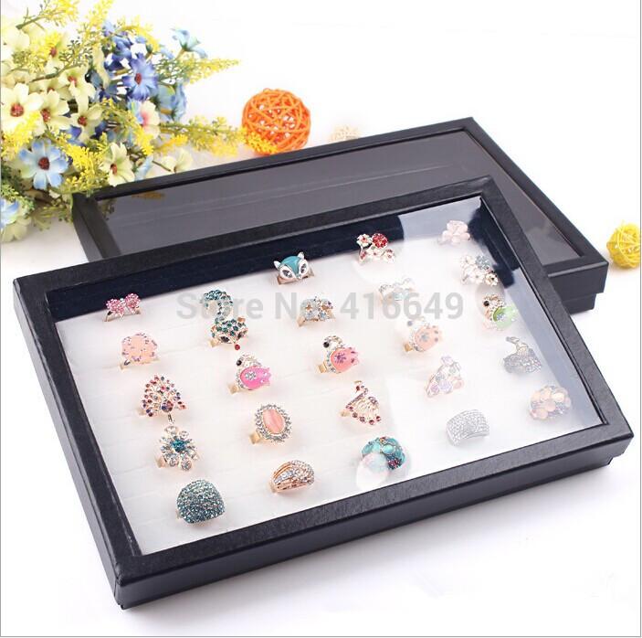 Free Shipping 2pcs/lot white spongy 100 Slots Ring Box Organizer Display Storage Case Jewelry Showcase Black Hot(China (Mainland))