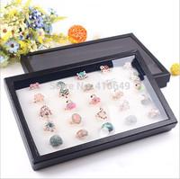 Free Shipping 2pcs/lot white spongy 100 Slots Ring Box Organizer Display Storage Case Jewelry Showcase Black Hot