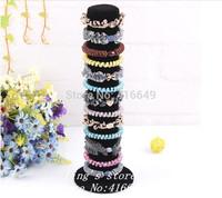 Free Shipping,Wholesale 1pcs/lot Bracelet / Hair Black Velvet Display Storage Holder Stand Elastic Loop Band