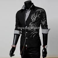 hion New Long Sleeve Dragon Print Shirts Men,Quality Boys Outerwear Shirts,Outdoor Cotton Shirt Plus Size XXXL