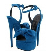 free shipping Rose-carmine and blue suede  high heel  summer sandals   with bow