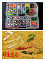 2013 New ! Promotion ! Hot sale ! 118 pcs Fishing Lure set /Hard  /Soft  /Paillette Lure/Metal Lure /bait set .Free Shipping