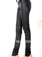 Free shipping womens pu leather pants fashion popular style sexy slim-cut style with zipper fly