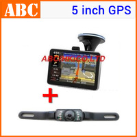 (1pcs Navigator+1pcs Camera)5 inch Car GPS Navigation Bluetooth AV-IN 4GB Free Map with wireless 2.4G Rear View Reversing Camera