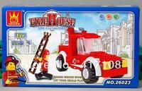 WANGE elementary education educational toys plastic building blocks model toy fire truck 26023 free shipping