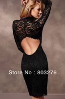 competitive price! Super Sexy Open Back Long Sleeve Black Lace Dresses  free shipping 2566