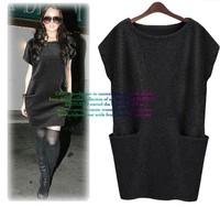 2014 Autumn Plus Size Short Batwing Sleeve Woolen One-Piece Dress High Waist Loose Fashion Casual Dress 4 Colors M-4XL nz112