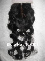 "Queen Brazilian Virgin Hair 12"" Loose Curly  #1b Silk Base Closure  (4"" x 4"") Lace Closures"