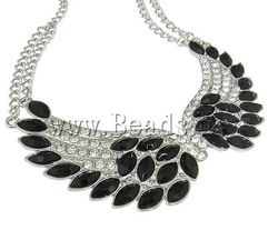 40% OFF!! Free Shipping Fashion Jewelry Gift Necklace Punk Necklace Wing Rhinestone Silver & Gold Color Chains Necklace(China (Mainland))