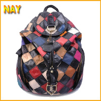 2015 New Arrival Girls School Backpack Fashion Geometry Patchwork Bags Genuine Leather Satchel Women Travel Bags