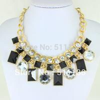 2013 New Arrival Fashion Gold Square Drop Acrylic Statement Necklaces for women KK-SC139 Retail