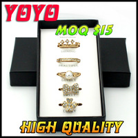 Free Shipping 2014 hot  Fashion Rings Set Include 5 Pieces Rings Packed With Original Boxes , rings emboitement,jz341
