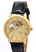 Men's Winner  Mechanical Gold Skeleton Dial Clear Hardlex Back Fashion Roma Dial Watch