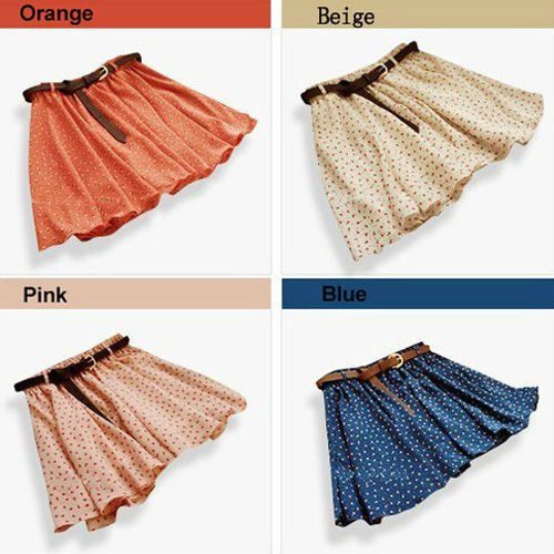 Fashion 4 Colors Pleated Floral Chiffon Women Ladies Cute Mini Skirt Belt Include Flower Printed Pattern Pleated Short WF-3830(China (Mainland))