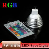 10X MR16 3W RGB Led Spot Lamp DC12V LED Bulb Light With Remote Controller AC85-265V