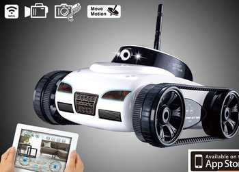 Free shipping 4CH Instant Wifi RC Tank Car controlled by iPhone Android mobile phone w/ Live Video Camera white black