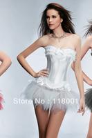 free shipping hot selling wholesale pvc boned sexy white,black satin wedding dress/coset + skirt